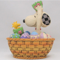 Peanuts Jim Shore Snoopy And Woodstock Figure An Easter Surprise Hand Painted New