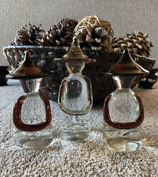 Vintage Mid-century Hand Blown Glass Clear And Purple Chinese Figurines 3 Set