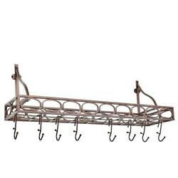 36 In. Wall Pot Rack With Hand-applied Antique Finish, Grid And 8-hooks, Bronze