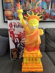New Ron English X Mindstyle Uv Lady Liberty Fire Edition Grin With Base 34in