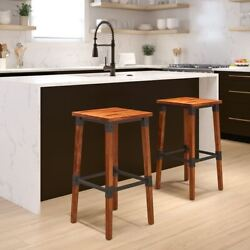 Durable 2 Pack Rustic Antique Walnut Industrial Wood Dining Backless Barstool