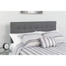Modern Bedford Tufted Upholstered King Size Headboard In Dark Gray Fabric