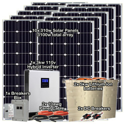 3kw/10kw Off-grid Solar System Split Phase Capable Lithium Battery Complete Kit