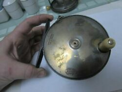 Stunning Vintage Hardy 1896 Brass Faced Perfect Salmon Fly Fishing Reel 4.25