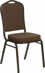 Hercules Series Crown Back Stacking Banquet Chair In Brown Patterned Fabric - Co
