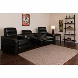 Futura Series 3-seat Reclining Black Leathersoft Theater Seating Unit W/cup Hold