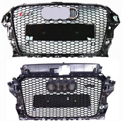 For Audi A3 S3 8v Rs3 Style Front Grille Gloss Black Frame + Mesh Rings 14-16