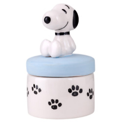 Peanuts Snoopy Sitting W/ Paw Print Aroma Pot Cute Container Pottery White New