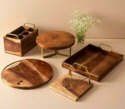 5pcs Wooden Tray, Spoon Stand, Cake Holder, Serving Platter,tissue Paper Stands