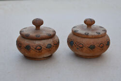 Old Primitive Wooden Boxes Kitchen Spices Hand Engraved