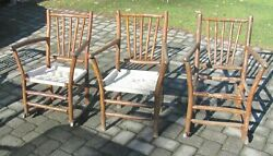 Antique 1930's Hickory 2 Rocking And 1 Arm Chair Primitive Folk Art