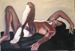 Eric Kaiser French Reclining Male Nude Original Contemporary Art Oil Painting