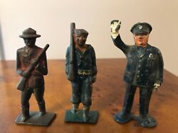 3 Vintage Barclay Manoil Lead Figures Police Traffic Officer Mountie Sailor Lot