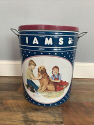 Rare Vintage Iams Dog Can Metal Tin Canister Food Storage Container Large 1992