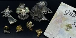 Lot Of 8 Various Angel Pins 3x Brooches 5x Lapel Pins Nice Religious Cute