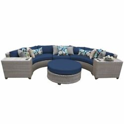 Tk Classics Florence 6 Piece Patio Wicker Sectional Set 06c In Navy