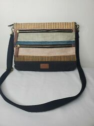Fossil striped colorful crossbody canvas purse bag $24.99