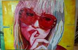 Original Oil Painting Girl With Red Sunglasses By Colombian Woman Artist