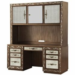 Acme Orianne Computer Desk And Hutch In Antique Gold