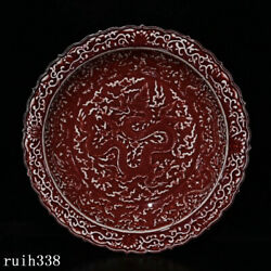16.4 China Ming Dynasty Red Glaze Carving Dragon Pattern Porcelain Plate