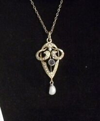 Antique Art Nouveau 14k Gold Pendant With Sapphire And Seed Pearls
