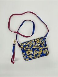 Top It Off Coral Design Crossbody bag with Wristlet Strap Gold Pink Blue Beach $9.99