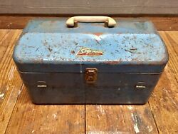 Vintage Sportmaster 4 Tray Large Blue Metal Tackle Box With White Handle Fishing