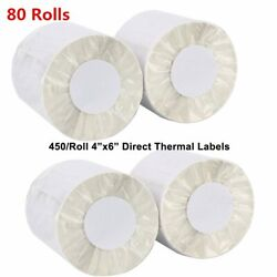 80 Rolls Of 450 4x6 Direct Thermal Shipping Postage Labels - Zebra 2844 Usps Ups