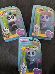 Lot Of 3 Fingerlings- Drew, Beanie And Archie Baby Pandas... New