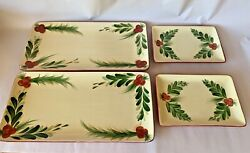 Signed Southern Living At Home Gail Pittman Christmas Memories Platters Set Of 4