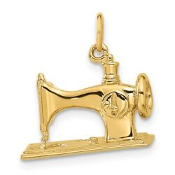 14k Yellow Gold 3d Antique Sewing Machine Pendant Charm Necklace Fine Jewelry