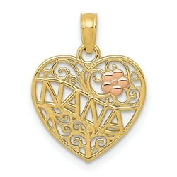 14k Two Tone Yellow Gold Nana Flower On Heart Pendant Charm Necklace Grma Fine
