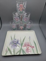 Design Imports H J Stotter Usa Cups Italy Iris Floral Serving Tray Mint