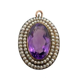 Victorian Faceted Amethyst Pendant With Two Rows Of Seed Pearls