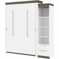 Bestar Orion 85 Queen Murphy Bed And Narrow Shelving With Drawers In White