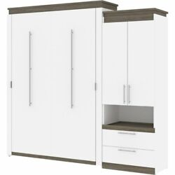 Bestar Orion 95 Queen Murphy Bed With Storage Cabinet In White