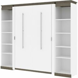 Bestar Orion 98 Full Murphy Bed With 2 Narrow Bookcases In White