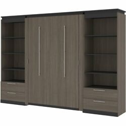 Bestar Orion 118 Full Murphy Bed And 2 Bookcases With Drawers In Bark Gray