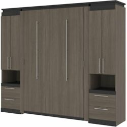 Bestar Orion 98 Full Murphy Bed With 2 Storage Cabinets In Bark Gray