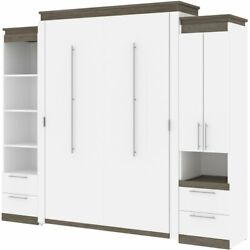 Bestar Orion 104 Queen Murphy Bed And Narrow Storage With Drawers In White