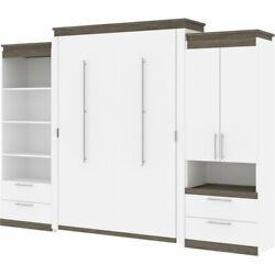 Bestar Orion 124 Queen Murphy Bed And Storage With Drawers In White