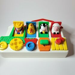 Vintage 1993 Fisher Price Barn Farm Animals Tractor Pop Up Baby Toy Farmer