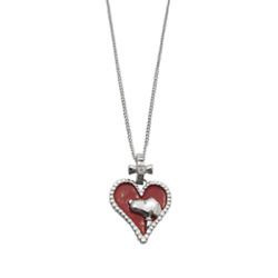 [anime Goods] Snoopy Silver Pendant/necklace/heart/red/japan Limited/brand New