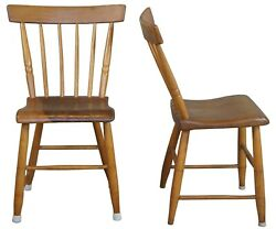 2 Antique Early American Pine Spindle Back Side Chairs Country Farmhouse 31