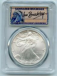 2007 Ase 1 Pcgs Ms70 Leonard Buckley 1oz Silver Coin Encapsulated In Mint Slab