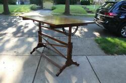 Antique Frederick Post Wood Drafting Table With Cast Iron Knobs