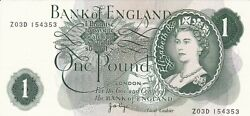 Bank Of England - One Pound 1970 - J.b. Page - Xf+++ Serial Z03di54353
