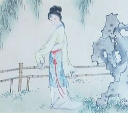 A Rare Chinese Antique Signed Painting Of A Female Figure On Paper Roll