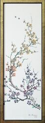 Bough Yo-hu Antique Original Chinese Ink Scroll Painting Signed Framed 32 X 12