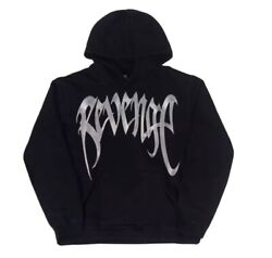 Revenge Official Metallic Silver Black Embroidered French Terry Hoodie - Large